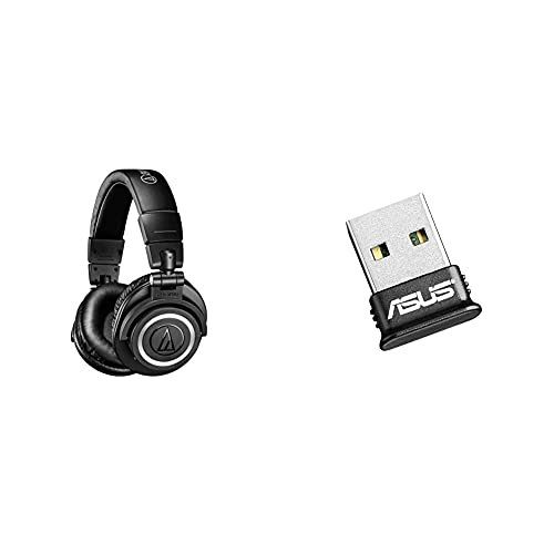 Audio-Technica ATH-M50XBT Wireless Over-Ear Portable Headphones - Black & Asus USB-BT400 Nano Bluetooth Stick (use PS4 and Xbox One controller on PC, Bluetooth 4.0), Black