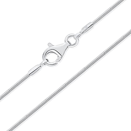 DTPsilver - Cadena de plata fina 925 - Cadena de serpiente muy fina - Cierre de mosquetón - Grosor: 1 mm - Longitud: 40, 45, 51, 55, 61 cm,