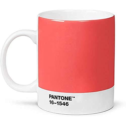 Pantone Porzellan Becher, Kaffeetasse 375 ml, mit Henkel, spülmaschinenfest, Farbe des Jahres 2019, Living Coral 16-1546