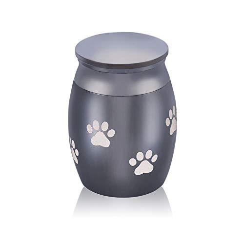 Mini-Urne für Asche – Haustier-Hundepfoten-Abdruck, Beerdigungsurne für Katze, Edelstahl, 40 mm x 30 mm, Schwarz