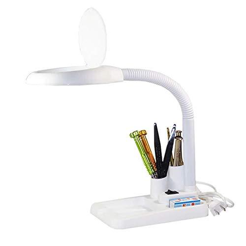 Houten vergrootglas 5x 10x desktop zwanenhals verlicht - vergrootlamp - met ultrahelder energiebesparend LED-licht, geweldig handsfree vergrootglas voor het lezen, hobby, knutselen, werkbank, diamant-art