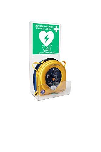 MedX5 (Upgrade 2019) Defibrillator Plexiglas Wandhalterung, AED Wandkasten universal für alle Defis mit Standortaufkleber