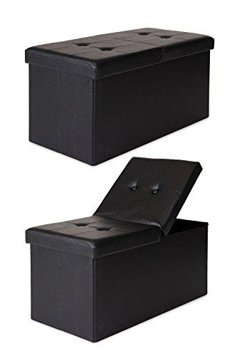 dibea SO00470, Sitzhocker Kunstleder, Sitzbank mit Klappdeckel, 76 x 38 x 38 cm, schwarz