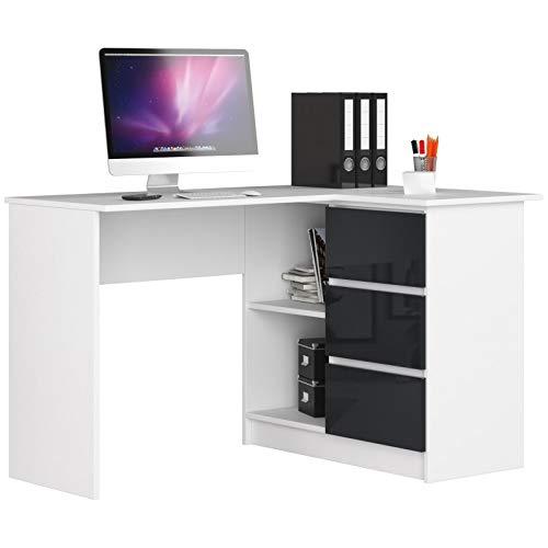ADGO B16 - Mesa de ordenador esquinera de madera (124 x 77 x 85 cm, 3 cajones para un espacio para niños y jóvenes, taller y oficina, correcta, color blanco/grafito brillante)