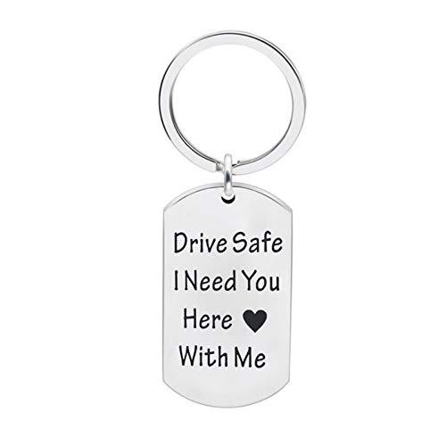 AmDxD Acero Inoxidable Llavero Hombre Elegante Drive Safe i Need You Here with me Placa de Identidad Llaveros Plata Llavero Retro Vintage