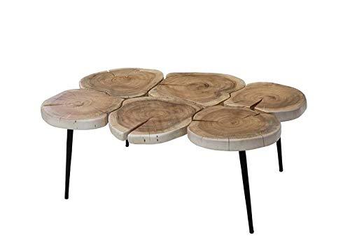 MASSIVMOEBEL24.DE Table Basse 95x60cm - Fer et Bois Massif d'acacia laqué (Bois Naturel) - Design Naturel - Natural Idol #120