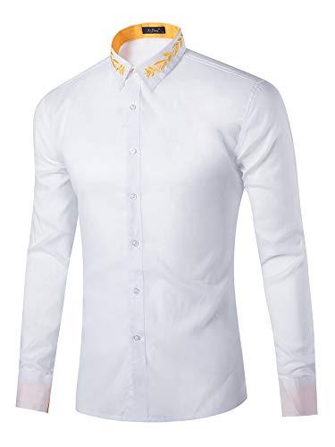 HUANG Casual Botón Abajo Camisas Hombres Loog Manga Hipster Bordado Vuelta Cuello Negocios Vestido Camisas Oficina