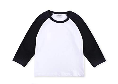 CREATOR Toddler Baby Girls Boys Long Sleeve Shirts Raglan Shirt Baseball Tee Cotton T-Shirt (Black, 1-2 Years)