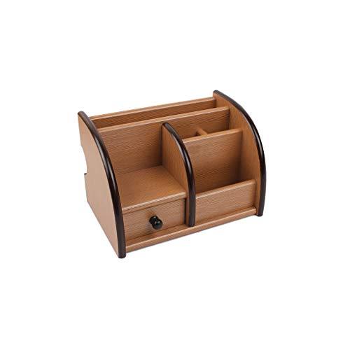 Qivor Porta bolígrafos - Caja de Almacenamiento de Escritorio - Caja de Almacenamiento de papelería, Porta bolígrafos Simple multifunción (Color : Light Brown)