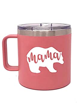 Camper Coffee Mug Tumblers for Women - Double Walled Vacuum Sealed Stainless Steel 14 oz Tumbler  Mama Bear Coral