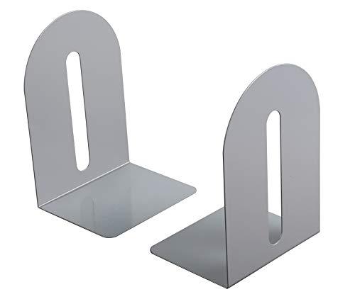 NEUN WELTEN Qualität Buchstützen aus Metall 14 × 14 × 20cm, Schwerlast (Grau)