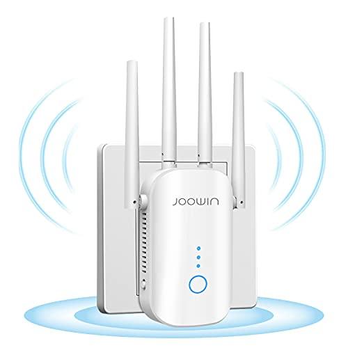 JOOWIN Repetidor WiFi Amplificador WiFi Extensor 1200Mbps 2.4GHz/5Ghz WiFi Extensor Amplificador Largo Alcance, Modo Punto de Acceso/Repetidor/enrutador, 4 * 3dBi Antenas, con Puerto Ethernet
