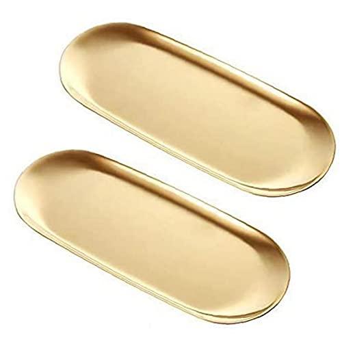 Sevennine Toalla Bandeja de Acero Inoxidable Oval Decorativo Espejo del sostenedor de Vela cosméticos Organizador del bocado del té de la Placa de Oro de 18 cm 2 Piezas, Inicio Gadget