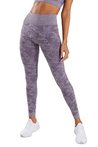 Pau1Hami1ton Talle Alto Camuflaje Sin Costura Leggins para Mujer Gimnasio Capri Mallas Pantalones de Yoga Niñas Fitness Leggings Deportivos GP-14(Purple,S)