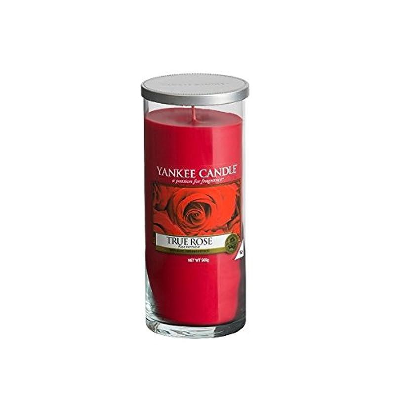 アウトドア汚す買い物に行くYankee Candles Large Pillar Candle - True Rose (Pack of 6) - ヤンキーキャンドル大きな柱キャンドル - 真のバラ (x6) [並行輸入品]