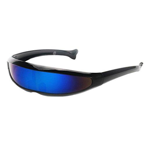 P Prettyia Erwachsene Funky Sonnenbrille Verspiegelte Dekobrille Partybrille Futuristische Spaß Brille Alien Kostüm Zubehör - Schwarz Blau