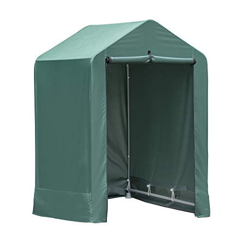 ShelterLogic 4' x 4' x 6' Water-Resistant Pop-Up Deck and Garden Storage Shed Kit, Green,Gray