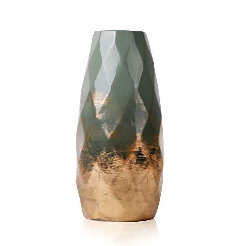TERESA'S COLLECTIONS Grüne Golde Keramik Vase Kleine Blumenvase Moderne Tischvase Blumen Pflanzen Tischdeko Keramikvase Deko Höhe 23cm Ø10cm