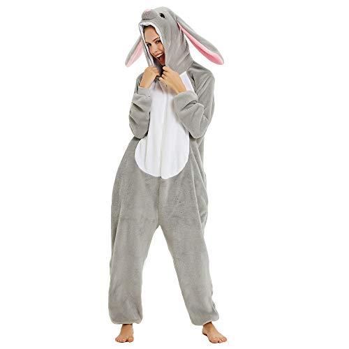 CozofLuv Tier Pyjamas Kostüm Nachtwäsche Cosplay Kostüme Einhorn Rentier Pyjamas für Erwachsene Anzug Outfit (Hase, S (148-158cm))