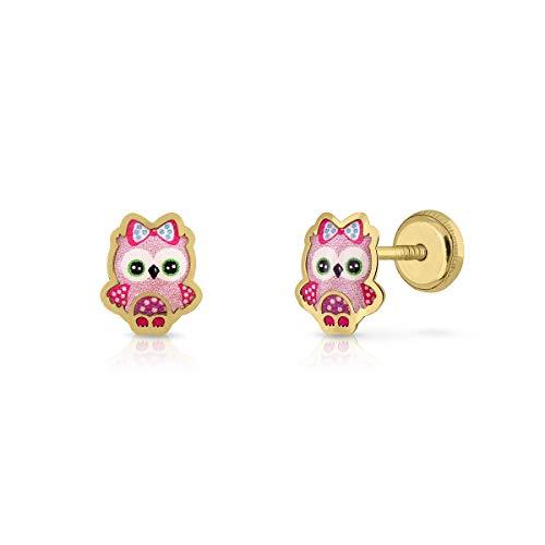 Certified Gold Earrings, Women's Girls, Owl, Vitrified Enamel, 6.5 x 7.5 mm, with Safety Clasp (4-4190)