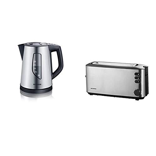 SEVERIN WK 3342 Wasserkocher mit 4 Temperatureinstellungen (ca. 2.200 W, 1,5 L) edelstahl/schwarz & AT 2515 Automatik-Toaster (1.000 W, 1 Langschlitzkammer, Für bis zu 2 Brotscheiben)edelstahl/schwarz