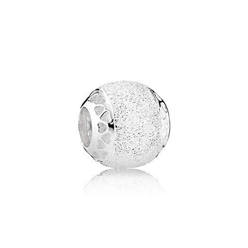 Pandora Damen Moments Glitzernde Struktur-Herzen Charm Sterling Silber 792097