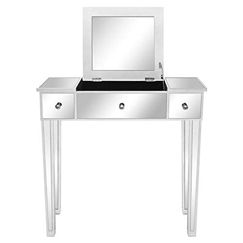 Vanity Table with Flip Top Mirror Makeup Dressing Table Writing Desk Flip Glass Mirrored Makeup Table Montana