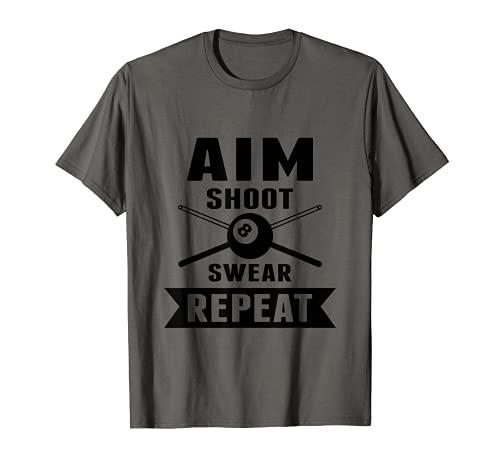 Divertidos jugadores de billar apuntan a disparar jurar repetición Camiseta