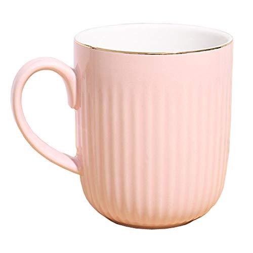 400ml Kreative Praktische Keramik Porzellan Tasse Niedliche Frau Becher Paar Tasse Für Kaffee, Tee, Kakao Große Kapazität Hochzeitsgeschenk (Pink)