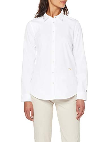 Tommy Hilfiger TH Essential Shirt LS W2 Camisa, Blanco (White Yaf), 34/Alto para Mujer