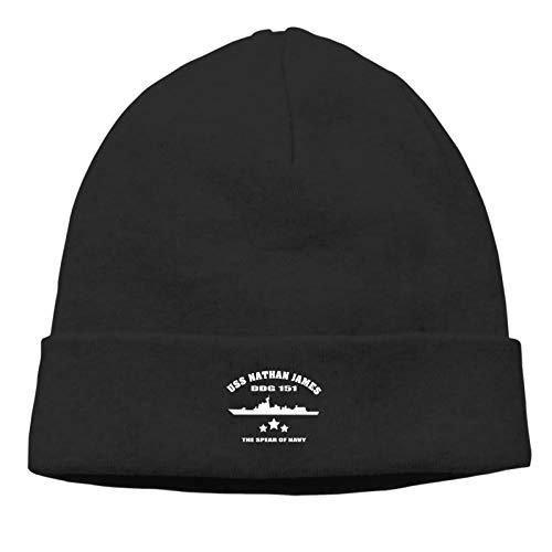USS Nathan James Man & Women Unisex Winter Knitted Beanie Winter Knit Hats Unisex Skull Cap Black
