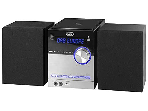 Trevi Hcx 10D8 Dab Stereo Hi-Fi con Ricevitore Digitale Dab/Dab+ e Fm con Rds, Display Alfanumerico LCD, Bluetooth, Cd, Mp3, USB, Aux-In, Funzione Auto-Memory, Funzione Orologio, Bianco