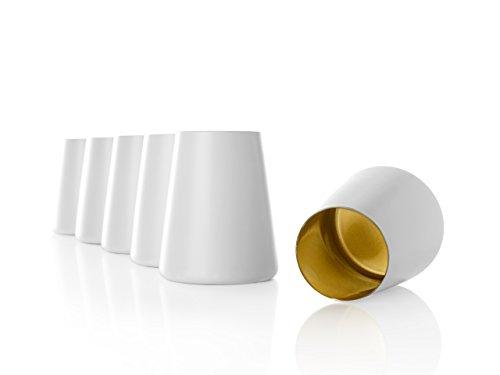Stölzle Lausitz Becher Power, 380 ml, 6er Set in weiß (matt) und Gold, universell einsetzbar, für Wasser, Säfte, Wein, spülmaschinenfest, mit organischen Farben besprüht