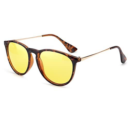 TJUTR Polarisierte Nachtfahrtbrille für Autofahren Damen und Herren HD Gelbe Nacht Vision Blendschutz Brille - UV400 (Tortue/Gelb)