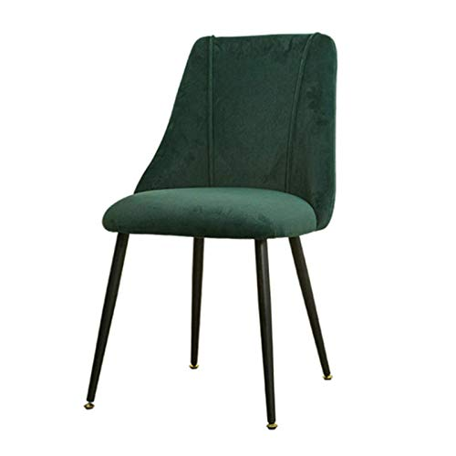 Dining Chairs Soft Fabric Upholstered Seat Tulip Style Metal Chair Legs Ergonomics Office Chair Kitchen Bedroom Dressing Lounge Table (Color : Green)