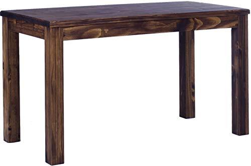 Esstisch Rio Classico 130x80 cm Eiche antik Massivholz Pinie Holz Esszimmertisch Echtholz Größe und Farbe wählbar ausziehbar vorgerichtet für Ansteckplatten Brasilmöbel