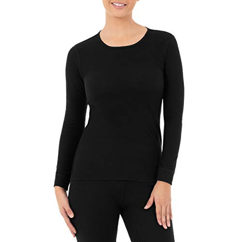 Fruit of the Loom Women's Micro Waffle Premium Thermal Crew Top, Black, X-Large
