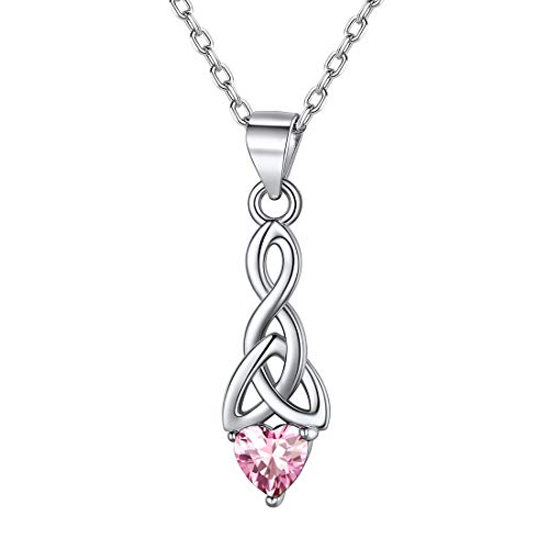 ChicSilver October Birthstone Jewelry 925 Sterling Silver Sparkling Pink Tourmaline Heart Cubic Zirconia Celtic Knot Pendant Necklace Birthday Jewelry Gifts for Women Teenage Girls