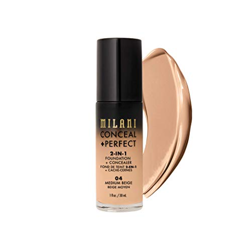 Milani Conceal Perfect 2 in 1 Foundation Concealer, Medium Beige, 30ml