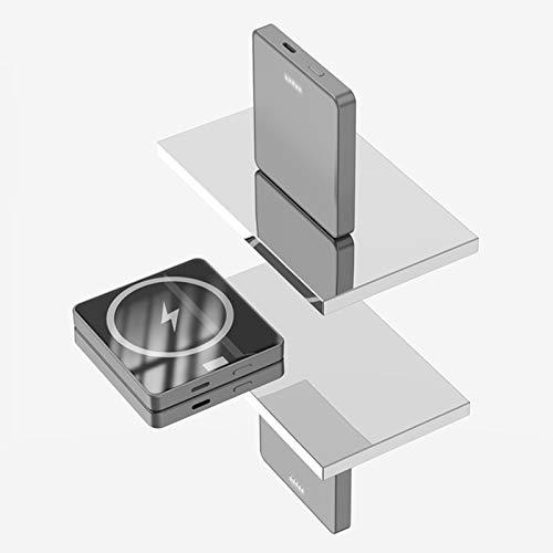 Banco de Energía Inalámbrico Magnético de 5000 mAh, Potencia de Respaldo de Carga Inalámbrica Segura Magnética de 15 W, Adecuado para iPhone 12/12 Mini/Pro/Max (Gris 5000mAh)