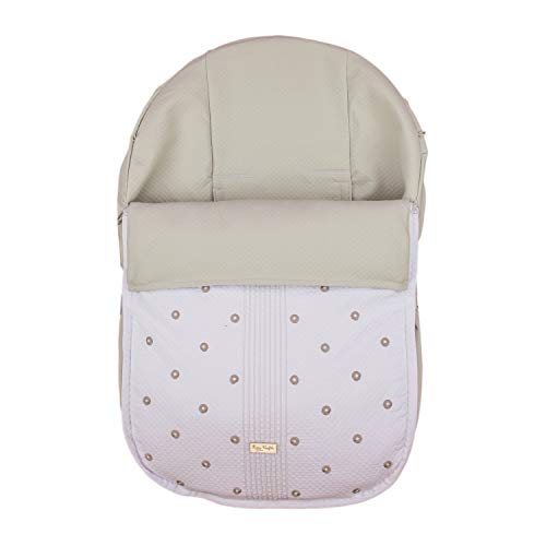Funda + Saco Universal para Silla de coche GRUPO 0 Rosy Fuentes - Saco para Silla de Bebé Grupo 0 - Equipado para ser Ajustado perfectamente - Elaborado en Piqué bordado - Color blanco camel