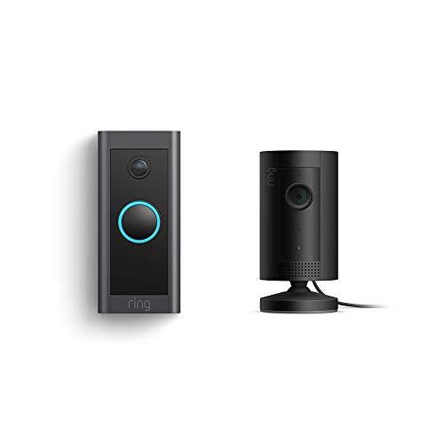 Ring Video Doorbell Wired bundle with Ring Indoor Cam (Black)
