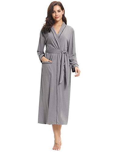 Aibrou para Mujer Algodón Albornoz Kimono con Cinturón,Ropa de Dormir Casa Cuello en V Clásico y Cómodo Talla S-XXL