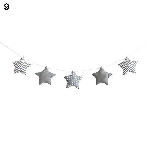 Yongqxxkj - Guirnalda colgante para cama de bebé, diseño de estrella nórdica, decoración de pared para habitación de niños, algodón, 9#, 9#