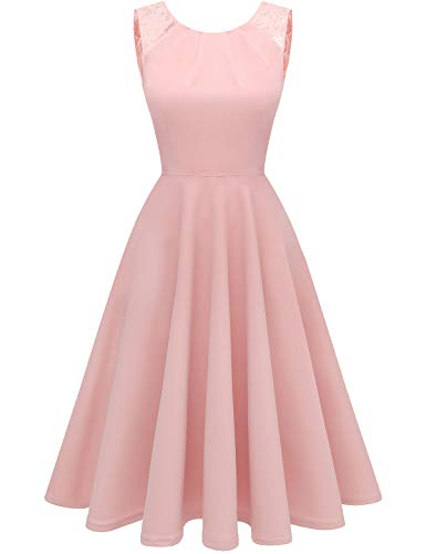 Bbonlinedress Sommerkleid Damen Cocktailkleid Kleider im Sommer Spitzenkleid Rockabilly 50er Vintage Knielang Ärmellos Blush XL