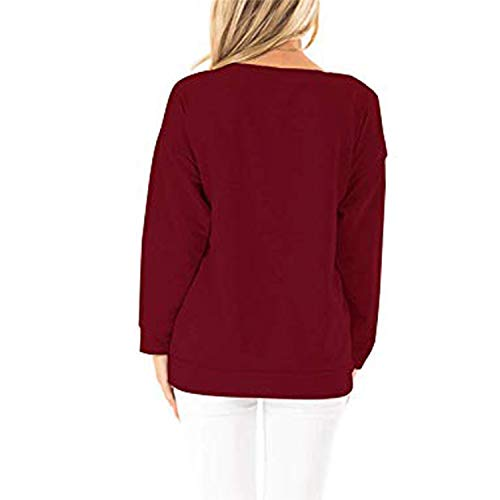 Taiduosheng Womens Casual Sweatshirts Long Sleeve Tshirts Off The Shoulder Tops Heart Print Pullover 2XL Wine Red