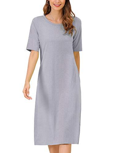 MessBebe damska bawełniana koszulka sukienki na co dzień sukienki w paski luźne sukienki midi lato elegancka sukienka z krótkim rękawem tunika z kieszeniami