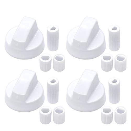 White Control Knobs Replacement with 12 Adapters for Oven/Stove/Range, Wide Application