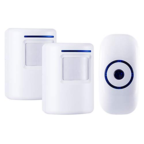Durchgangsalarm, HommyFine Ladenglocke Funkalarmanlage mit Bewegungsmelder Zutrittsmelder Beweungsklingel mit 36 Klingeltönen Auffahrts-Alarmset mit Blauer LED Anzeige (2 Sensoren + 1 Empfänger)