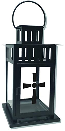 UDIG Trauer-Laterne Metall schwarz Mod. 4 mit Motiv 28x15,5x15,5 cm Grablaterne Grablicht